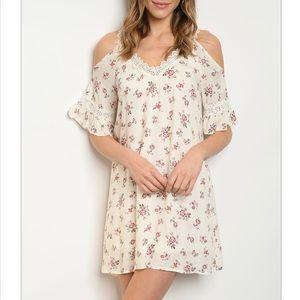 Dresses & Skirts - Cream Off the Shoulder Dress